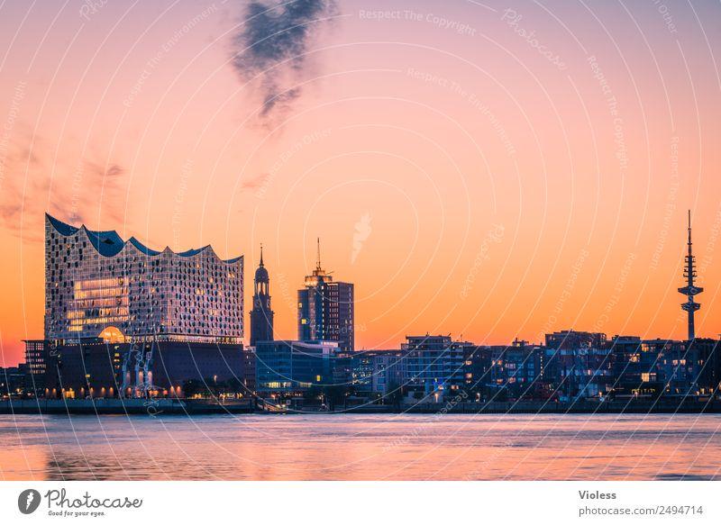 Schönste Stadt Skyline 4 Hafen Hamburg Elbphilharmonie Licht Kehrwiederspitze Hafenstadt Brücke Bauwerk Gebäude Sehenswürdigkeit Wahrzeichen Denkmal glänzend