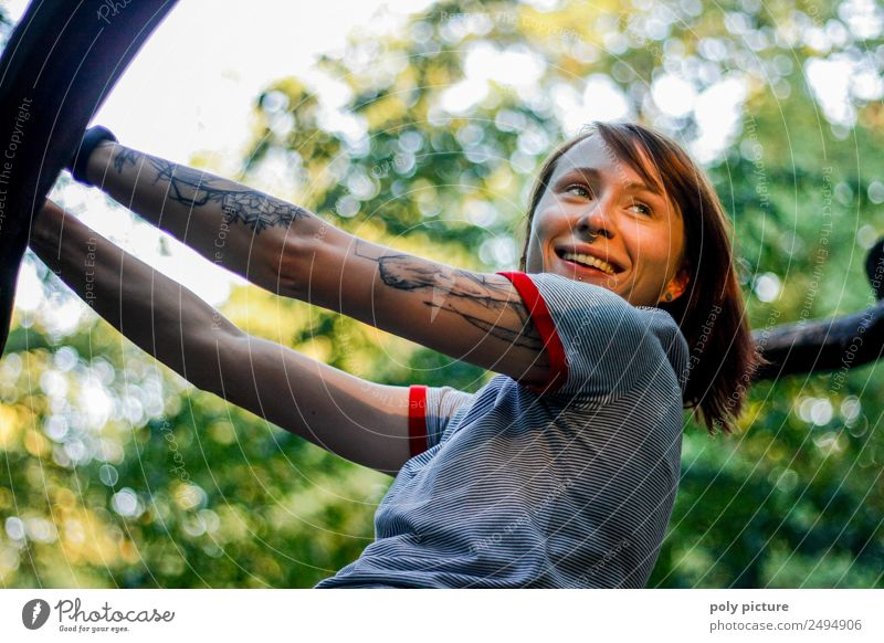 [LS115] - Smile! The Sun is shining! Frau Natur Jugendliche Junge Frau Sommer Stadt Baum Freude Wald 18-30 Jahre Erwachsene Lifestyle Leben Herbst Frühling
