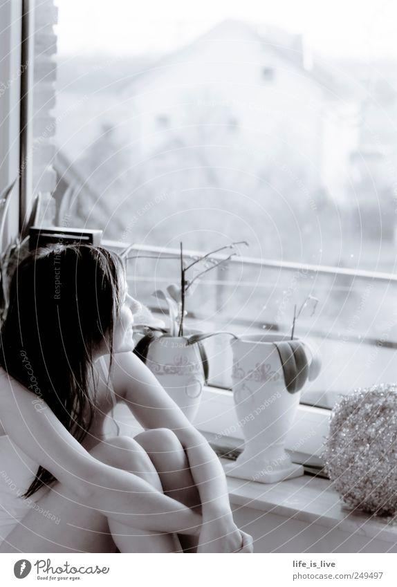 feel good Mensch Jugendliche schön ruhig Ferne Erholung Leben feminin Fenster Glück Denken Zufriedenheit warten sitzen Fröhlichkeit natürlich
