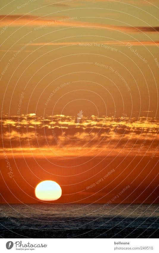 Der Untergang Himmel Natur schön Wasser Sonne Meer rot Wolken Umwelt gelb Küste Glück Horizont gold fantastisch Lebensfreude
