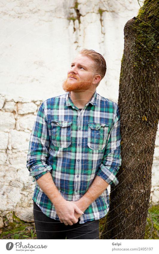 Porträt eines rothaarigen Mannes mit kariertem Hemd Stil Haare & Frisuren Mensch Erwachsene Oberlippenbart Vollbart Denken stehen Coolness trendy modern