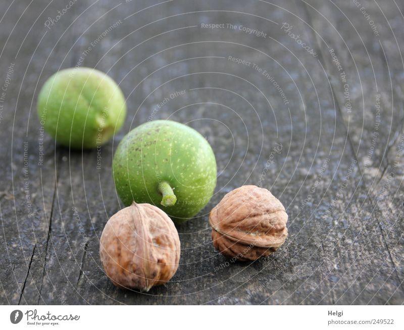 neue Ernte... Lebensmittel Frucht Nuss Walnuss Schalenfrucht Ernährung Bioprodukte Vegetarische Ernährung Tischplatte Holz liegen Wachstum ästhetisch