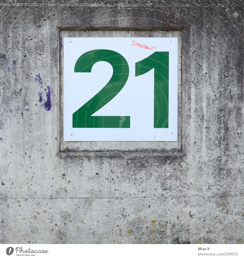 22, 23, 24.... 1 Wand grau Mauer Wohnung Schilder & Markierungen Ziffern & Zahlen Zeichen 21 Hausnummer