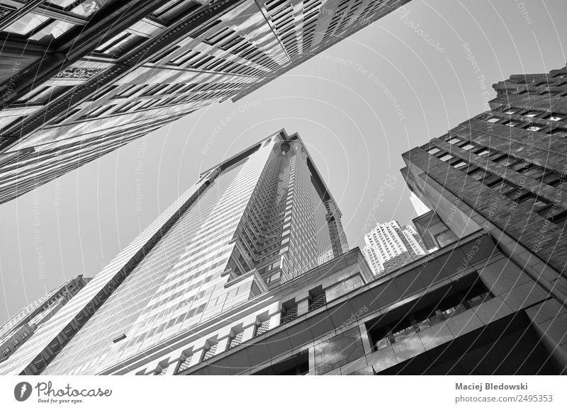 Blick auf New Yorker Gebäude, Manhattan. Büro Stadt Stadtzentrum Skyline Hochhaus Bankgebäude Architektur Business Dekadenz Erfolg Kapitalwirtschaft Reichtum