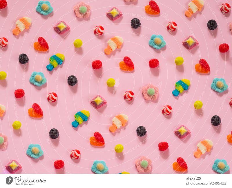 Gelee Bonbons Muster auf Hintergrund Frucht Dessert Süßwaren Freude Herz hell lecker rosa rot Farbe Beeren farbenfroh Ei Fisch Lebensmittel Feiertag horizontal
