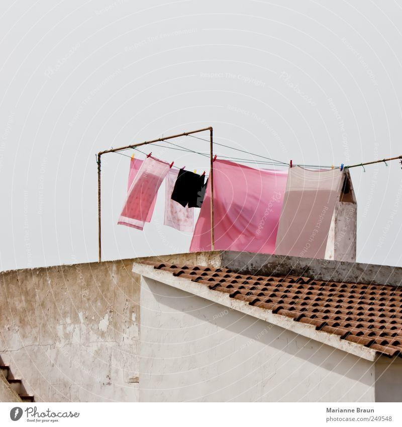 Wäsche Ferien & Urlaub & Reisen Sommerurlaub Insel Häusliches Leben Luft Himmel Wind Einfamilienhaus Dach Unterwäsche Stoff rosa Wäscheklammern Wäscheständer