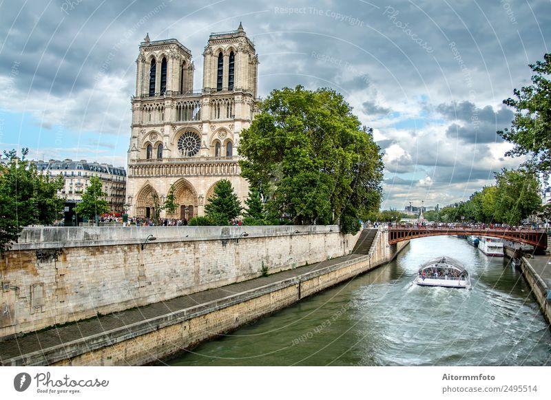 Notre Dame Kathedrale und Sena Fluss Stil Ferien & Urlaub & Reisen Tourismus Landschaft Himmel Wolken Wetter Kirche Brücke Architektur Fassade Denkmal Stein alt