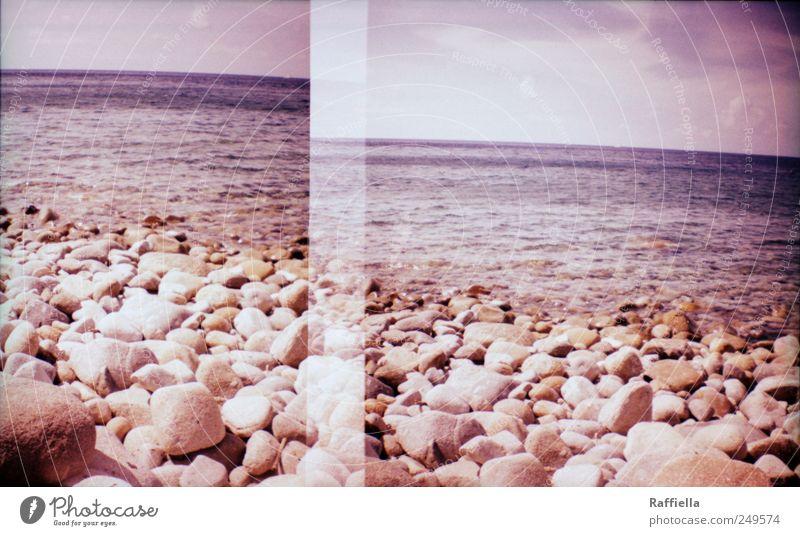 doppelt hält besser Himmel Wasser Sommer Ferien & Urlaub & Reisen Strand Meer Wolken ruhig Ferne Leben Stein Wellen Ausflug violett Doppelbelichtung Lomografie