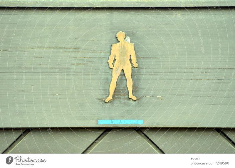 men only Toilette Mann Erwachsene Tür Holz Zeichen Schilder & Markierungen Hinweisschild Warnschild ästhetisch gelb grün Farbfoto Gedeckte Farben Außenaufnahme