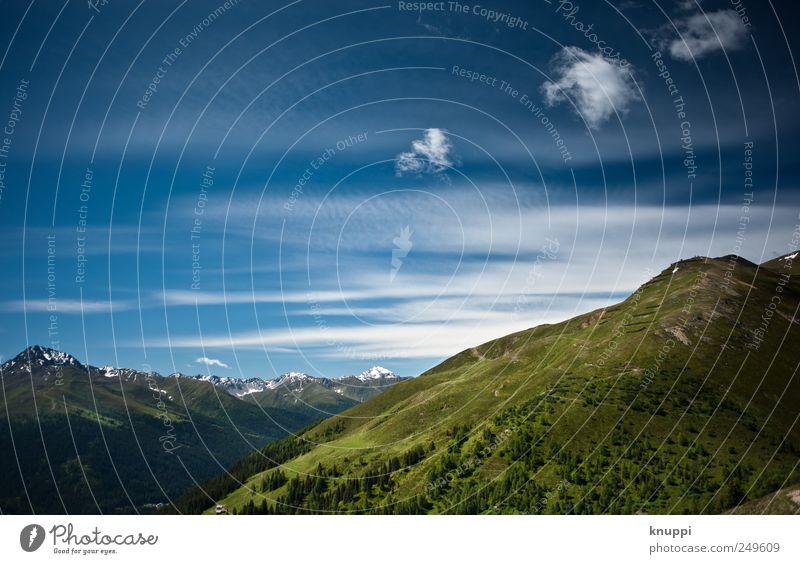 ... Himmel Natur blau weiß grün Sommer Wolken Umwelt Freiheit Berge u. Gebirge Horizont wandern Alpen Schönes Wetter Schneebedeckte Gipfel