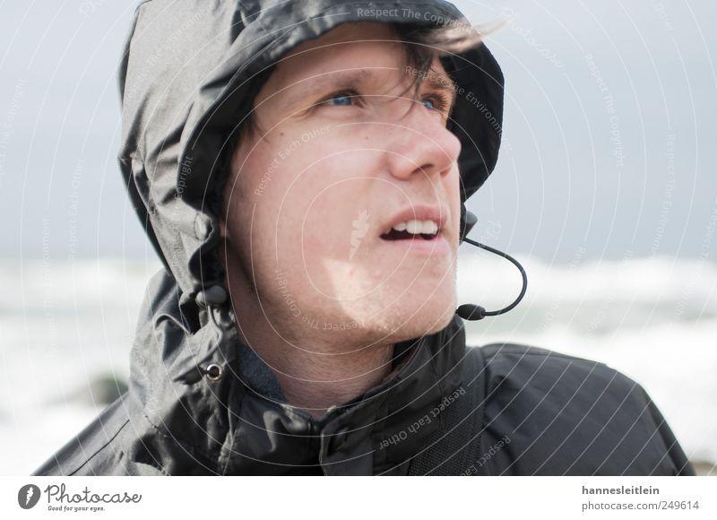 Windblick Gesicht Ferien & Urlaub & Reisen Ausflug Ferne Meer Mensch maskulin Junger Mann Jugendliche Kopf 1 18-30 Jahre Erwachsene Natur Sturm Rerik