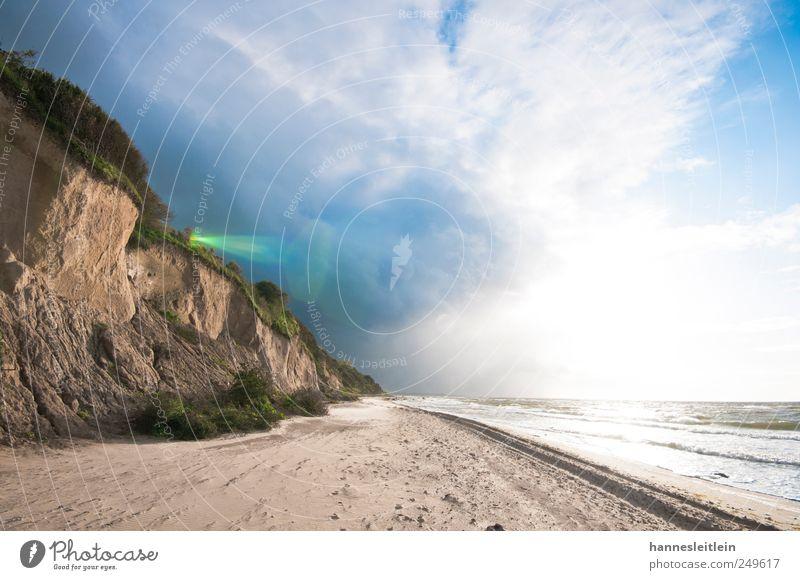 Steilküste Natur Sonne Sommer Ferien & Urlaub & Reisen Strand Meer Wolken Ferne Erholung Freiheit Umwelt Landschaft Küste Regen Wellen Zufriedenheit