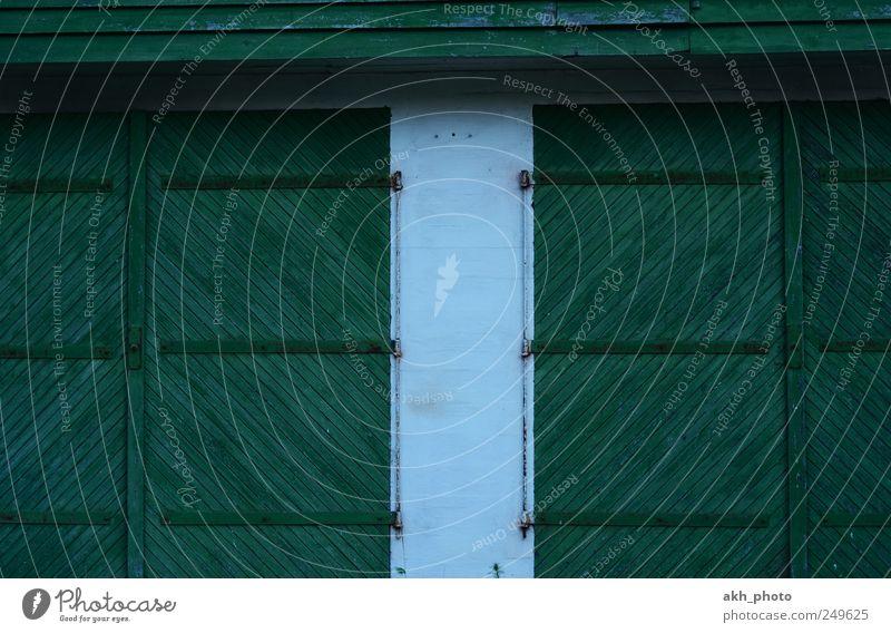Scheunentore alt weiß grün Holz paarweise Tor Symmetrie Holztür Holztor