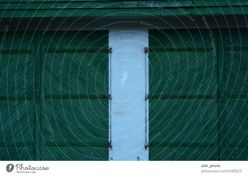Scheunentore Tor Holztor Holztür alt grün weiß paarweise zweimal Symmetrie Farbfoto mehrfarbig Außenaufnahme Abend