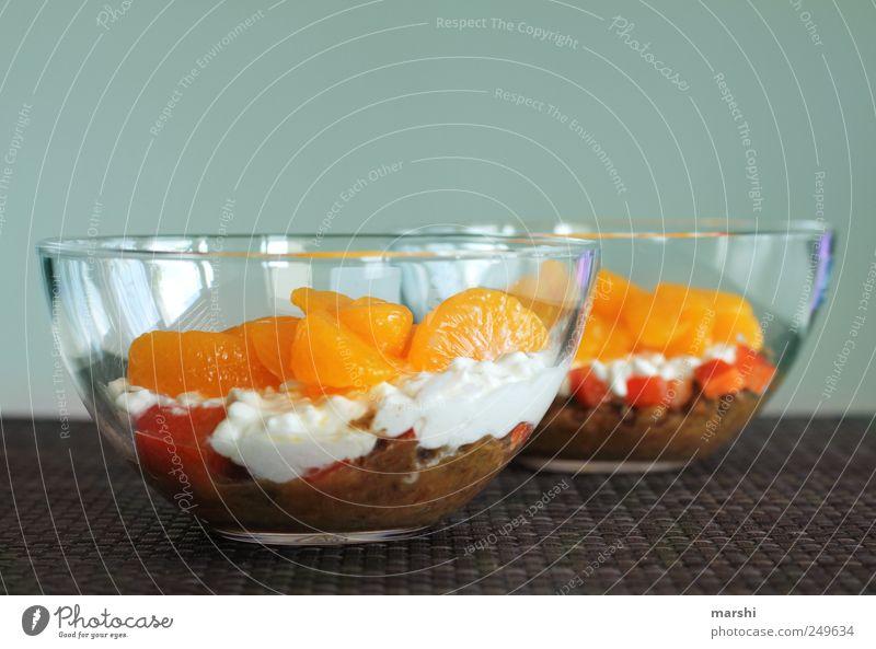 süßsauer rot braun Frucht Lebensmittel Ernährung Gemüse lecker Bioprodukte Schalen & Schüsseln Vegetarische Ernährung Paprika Käse Mandarine Paprikawürfel Frischkäse