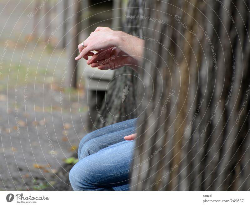 Fingertheater Mensch Hand 2 Baum Park Jeanshose Ring Sympathie Zusammensein Freundschaft Inspiration Zusammenhalt Farbfoto Gedeckte Farben Außenaufnahme
