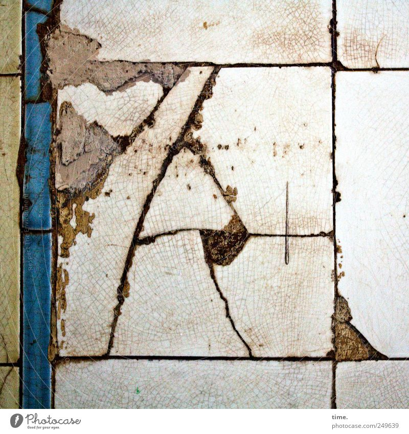 Mönchsnonne mit Wurst am Stock und Hund am Hals Fliesen u. Kacheln Stein alt springen historisch kaputt blau weiß Fuge repariert Mörtel Quadrat Patina chamois