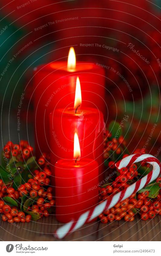 Weihnachtsbeleuchtung Design Glück Winter Dekoration & Verzierung Tisch Feste & Feiern Weihnachten & Advent Kerze Ornament dunkel rot weiß Farbe Tradition