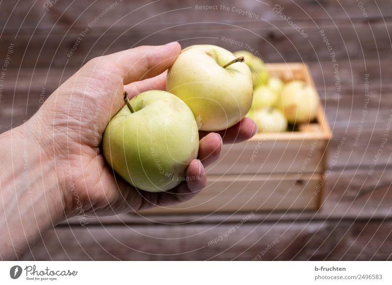 zwei Äpfel in der Hand Lebensmittel Frucht Bioprodukte Vegetarische Ernährung Tisch Mann Erwachsene Kasten Sammlung Holz festhalten frisch Gesundheit Apfel