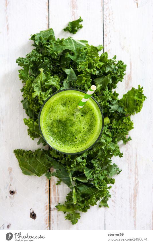 Grünkohl Smoothie Gemüse Bioprodukte Vegetarische Ernährung Getränk Erfrischungsgetränk Saft Glas Gesundheit Gesundheitswesen Gesunde Ernährung Sommer saftig