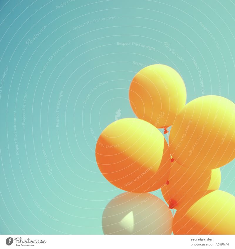 vorfreude Feste & Feiern Jahrmarkt Veranstaltung Wolkenloser Himmel Sommer Luftballon leuchten Fröhlichkeit retro rund blau gelb Freude Glück Lebensfreude