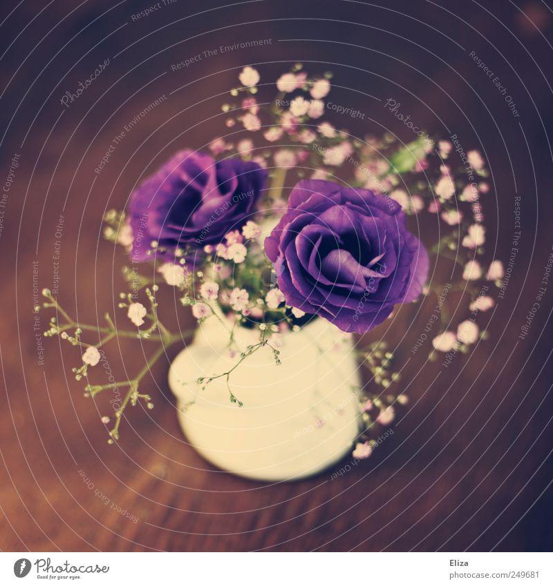 Ein kleiner Blumenstrauß mit lila Blumen und Schleierkraut in einer Vase auf einem Holztisch Unschärfe Bokeh hübsch Blüte zuhause dekorativ