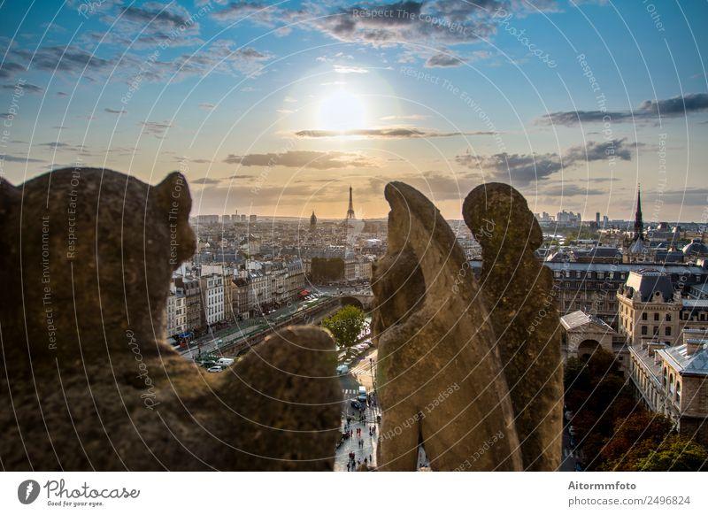 Himmel Ferien & Urlaub & Reisen alt Sommer Stadt Landschaft Haus Straße Architektur Stil Tourismus Stein Aussicht Perspektive historisch Frankreich