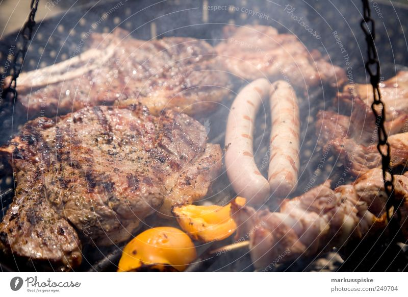 Barbecue Lebensmittel Fleisch Wurstwaren Gemüse Salat Salatbeilage Paprika Paprikastreifen Ernährung Grillen Grillrost Grillkohle Grillsaison Griller Amerika