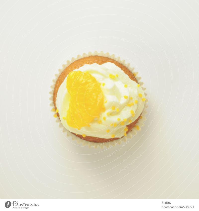 TopCake Lebensmittel Milcherzeugnisse Orange Teigwaren Backwaren Kuchen Dessert Süßwaren Ernährung Kaffeetrinken frisch klein lecker rund süß gelb weiß Muffin