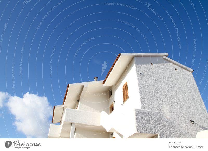 villa bianca weiß Sommer Ferien & Urlaub & Reisen Wolken Haus Fenster Architektur Gebäude Wetter Fassade hoch Treppe groß leuchten Italien Dorf