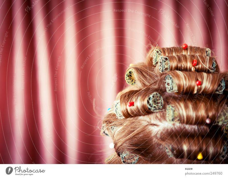 Headline Mensch Frau schön Erwachsene Kopf Haare & Frisuren lustig rosa Behaarung Streifen retro Show Stoff Maske Falte trocken