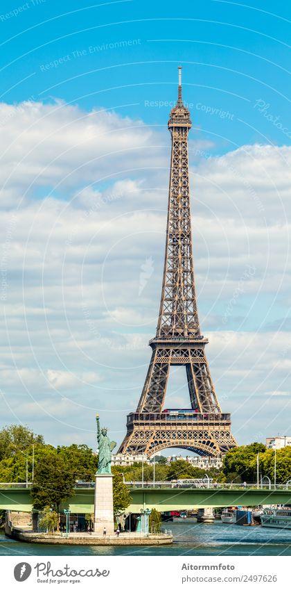 Eiffelturm und Freiheitsstatue in Paris Ferien & Urlaub & Reisen Tourismus Sightseeing Insel Fluss Skyline Architektur Verkehr Straße historisch klein modern