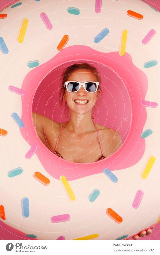 #A# Sommer-Blick 1 Mensch ästhetisch Kitsch Sommerurlaub sommerlich Sommerferien Sommertag Frau Freude Schwimmhilfe Schwimmen & Baden Mode Junge Frau Krapfen