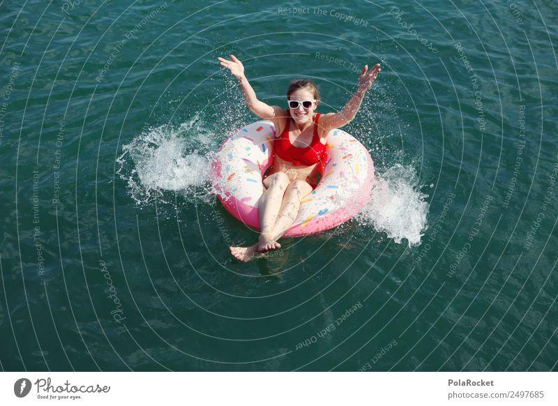 #A# Sommersee Frau Ferien & Urlaub & Reisen Junge Frau Freude Wärme Kunst Schwimmen & Baden ästhetisch Sommerurlaub sommerlich spritzen Schwimmhilfe kühlen