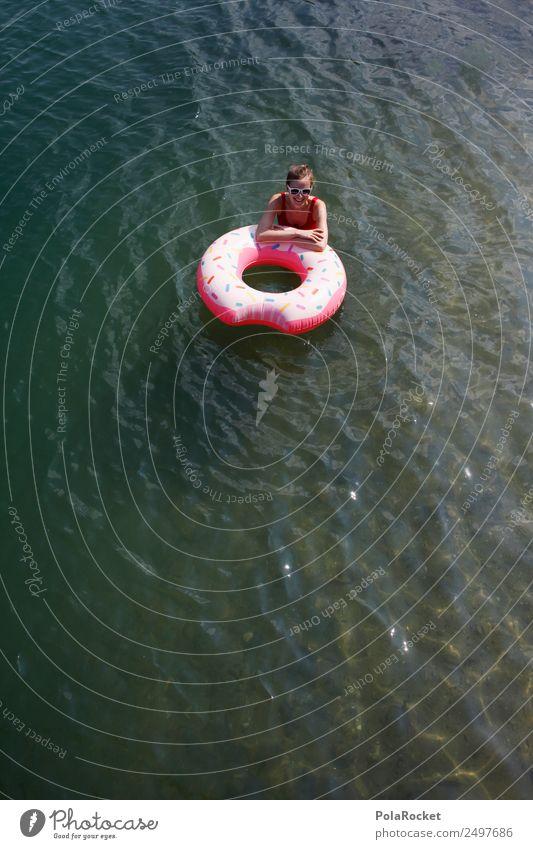 #A# Sommer-Donut Frau Natur Ferien & Urlaub & Reisen Junge Frau Erotik Wärme Kunst See Schwimmen & Baden ästhetisch Sommerurlaub Fernweh Sonnenbrille