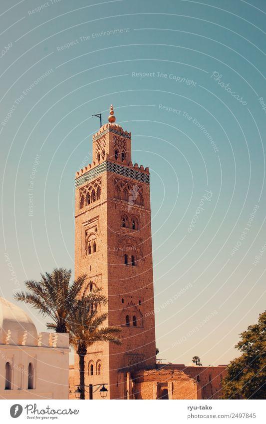 Koutoubia-Moschee II Marrakesch Marokko Altstadt Bauwerk Sehenswürdigkeit Wahrzeichen Denkmal ästhetisch gigantisch Palme Religion & Glaube Gebet Turm Farbfoto