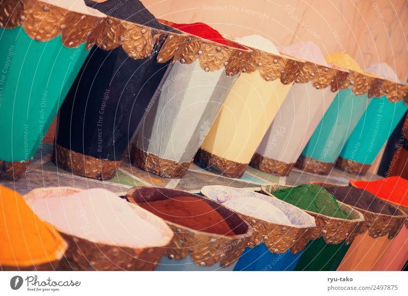 FarbenFarbenFarben Marrakesch Marokko schön Wärme mehrfarbig Markt Farbpigmente Behälter u. Gefäße Naher und Mittlerer Osten Farbfoto Außenaufnahme Menschenleer