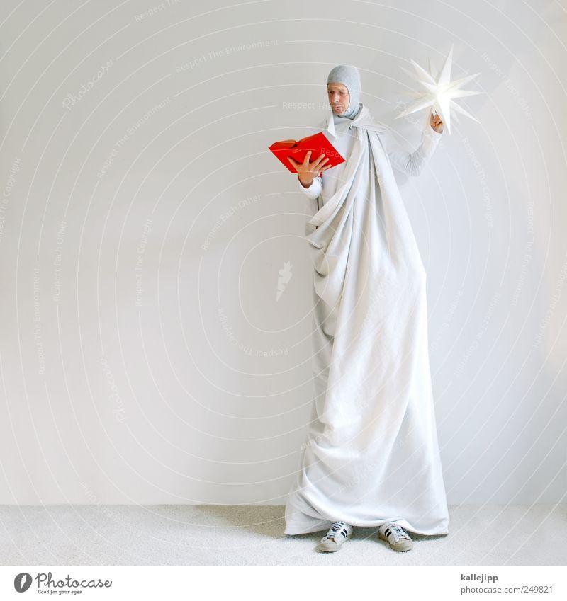 märchenstunde Mensch Mann rot Erwachsene Lampe Freizeit & Hobby maskulin groß stehen Buch Stern lesen Bildung Engel Hautfalten Märchen