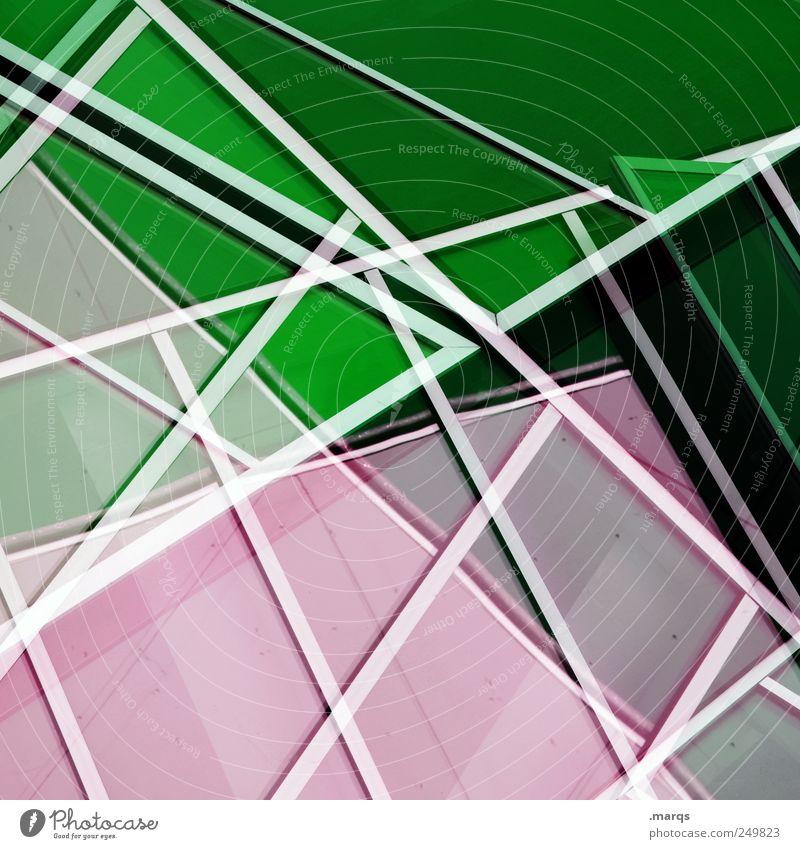 Inline elegant Stil Design Fassade Linie Streifen außergewöhnlich Coolness trendy einzigartig Sauberkeit grün rosa weiß chaotisch komplex Perspektive planen