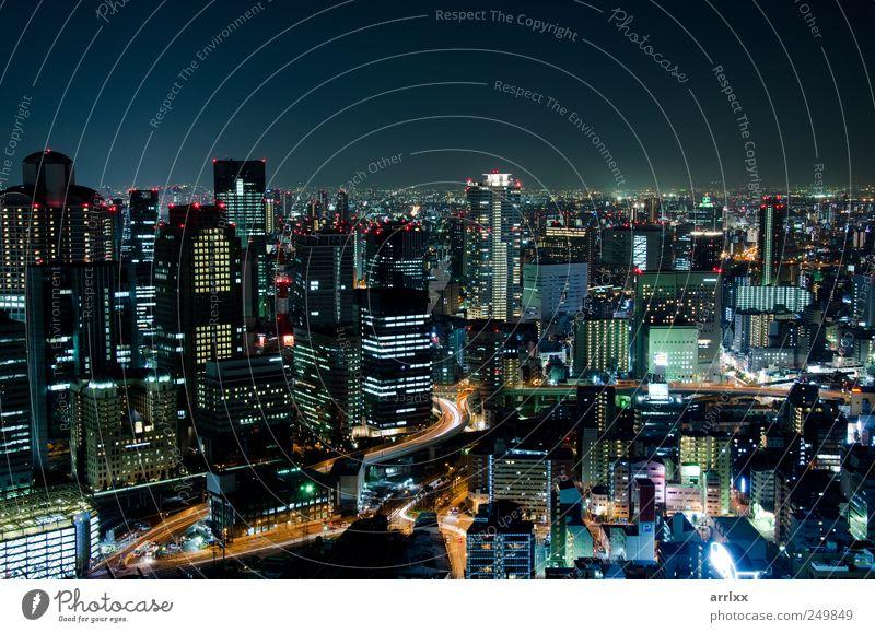 Skyline von Osaka City in Japan bei Nacht Reichtum Ferien & Urlaub & Reisen Sightseeing Häusliches Leben Hausbau Nachtleben Wirtschaft Industrie Business