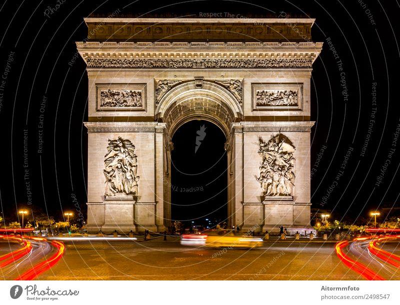Arc de triomphe in Paris bei dunkler Nacht Ferien & Urlaub & Reisen Tourismus Ausflug Sightseeing Städtereise Nachtleben Architektur Kultur Landschaft Stadt