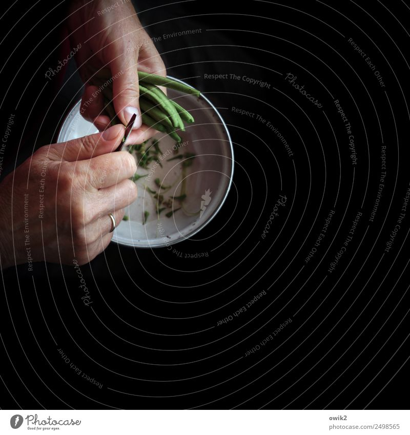 Fingerfood feminin Hand Schote Bohnen Schalen & Schüsseln Messer Arbeit & Erwerbstätigkeit frisch lecker rund grün schwarz geduldig ruhig fleißig Ausdauer