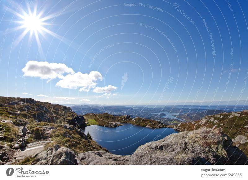 FREIHEIT Norwegen Freiheit Freizeit & Hobby wandern Sonne Sonnenstrahlen Himmel Postkarte Ferien & Urlaub & Reisen Berge u. Gebirge Gipfel Gebirgssee See