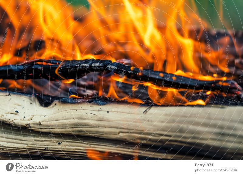 Brennendes Holz Abenteuer Feuerstelle Umwelt Natur Urelemente heiß gelb orange rot schwarz bedrohlich Umweltverschmutzung Zerstörung brennen Farbfoto