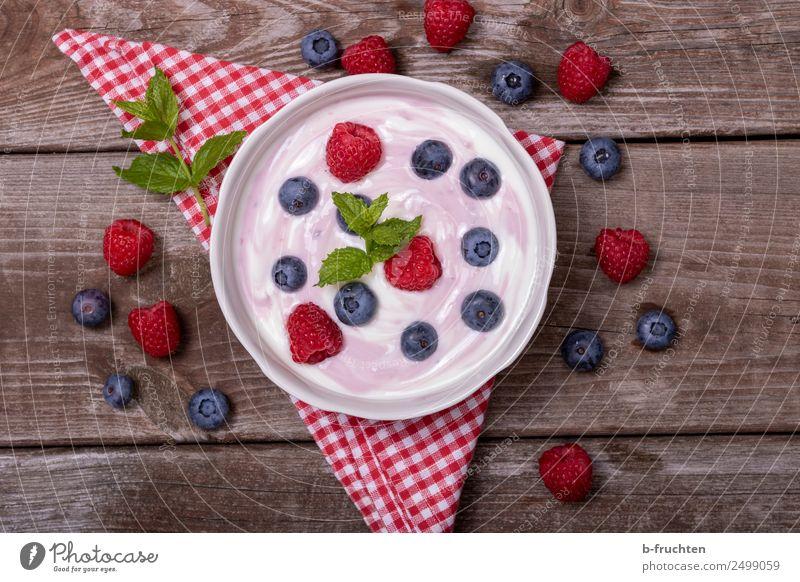 Frisches Heumilch-Joghurt mit Früchten Lebensmittel Milcherzeugnisse Frucht Picknick Bioprodukte Schalen & Schüsseln Gesundheit Sommer Garten Glas frisch