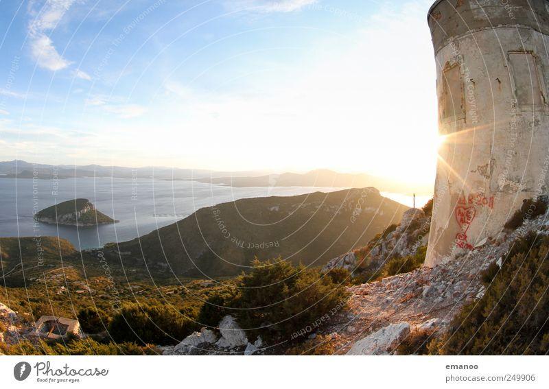 Capo Figari Himmel Natur alt Sonne Sommer Ferien & Urlaub & Reisen Meer Freiheit Berge u. Gebirge Landschaft Küste Gebäude hell Wetter Horizont Ausflug
