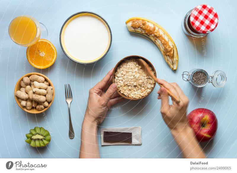 Gesundes Frühstück Joghurt Gemüse Frucht Apfel Croissant Dessert Ernährung Vegetarische Ernährung Diät Saft Tee Schalen & Schüsseln Sommer Tisch Küche Fitness