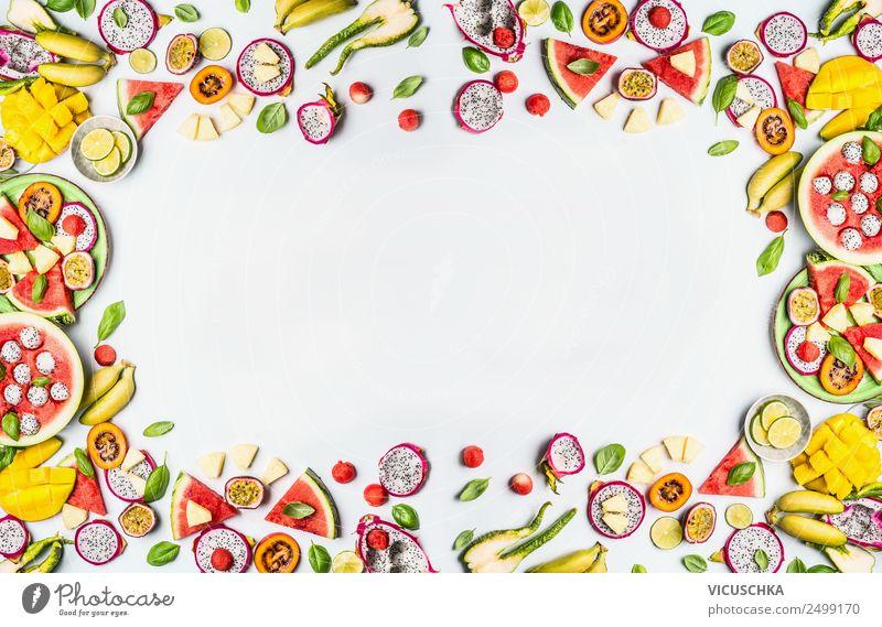 Obst Rahmen auf weißem Hintergrund Lebensmittel Frucht Ernährung Bioprodukte Vegetarische Ernährung Diät kaufen Stil Design Gesunde Ernährung Sommer gelb