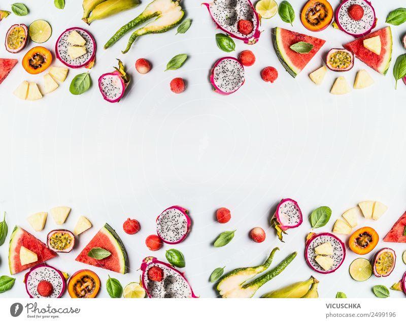 Bunte exotische Früchte Hintergrund Rahmen auf weiß Lebensmittel Frucht kaufen Stil Design Gesundheit Gesunde Ernährung gelb Hintergrundbild Vitamin Südfrüchte