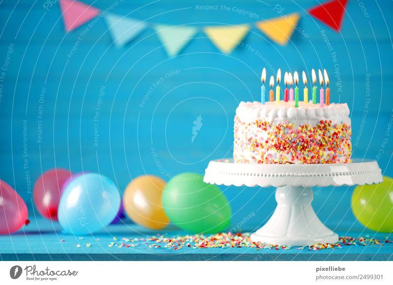 Geburtstagstorte Teigwaren Backwaren Kuchen Süßwaren Essen Kaffeetrinken Lifestyle Freude Dekoration & Verzierung Tisch Party Feste & Feiern Leben Luftballon